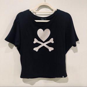 Tokidoki black top Small heart and crossbones